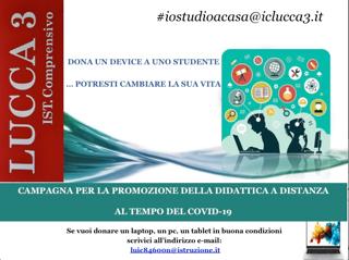 SOSTIENI LO STUDIO A DISTANZA: DONA UN DEVICE ALLA SCUOLA